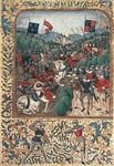 The Battle of Agincourt during the Hundred Years War (1415), miniature from a manuscript, England 15th Century.