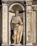 Italy, Lombardy, Pavia, Pavia Charterhouse (Certosa), Facade (left side), Statue of Apostle