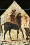 Black Knight, painted tombstone slab from Necropolis in Andriuolo-Laghetto in Paestum, Campania, Italy, 4th Century BC