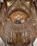 Italy, Sicily, Palermo Province, Cefalu Cathedral, Abse, Christ Pantocrator, Orant Virgin, Archangels and Apostles, freesco