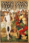Martyrdom of St Sebastian, detail from Altar of Augustinians, 1487, by Master of Altar of St Vitus, board, 137x93 cm