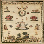 Beginners work, embroidered in silk cross-stitch on linen, initialed ADB and dated 1817