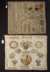 Beginner's work, embroidered in silk on thick weft linen, with alphabet, initials, floral motifs and various stitches embroidery tests, 19th century