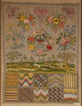 Embroidery with silk and golden threads on linen, with pattern of stitches, floral motifs, hunting scene, initial letters and date, 1736