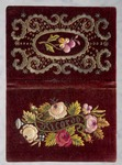 Purple velvet dance card holder, embroidered with silk and golden threads, with floral motif and inscription Ricordo, 19th century