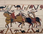 William the Conqueror and his escorts on horseback, detail of Queen Mathilda's Tapestry or Bayeux Tapestry, France, 11th century.