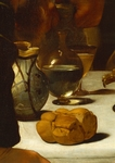 Bread and wine, detail from Supper at Emmaus, by Michelangelo Merisi da Caravaggio (1571-1610), oil on canvas, 141x1962 cm, 1602