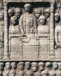 Byzantine art, Turkey, Istanbul, The Hippodrome of Constantinople, bas relief of the Obelisk of Theodosius, Detail representing the Roman Emperor Theodosius I among his court, awarding race winners