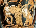 Red-figure pottery, detail of krater depicting Menelaus faced by Aphrodite as he reaches Helen, from Civita Castellana, ancient Falerii, Rome province, Italy
