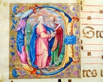 Initial capital letter E depicting two apostles, miniature from an antiphonary, Italy 15th Century.