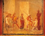 Fresco depicting encounter between Priam, Menelaus and Helen in Royal Palace, Pompeii , Campania, Roman Civilization, 1st Century