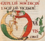 Initial capital letter Q depicting a man opening a monster's mouth, miniature from the Morals on the Book of Job (Moralia in Job) by Saint Gregory the Great, manuscript 173 folio 29 r, Citeaux, France 12th Century.