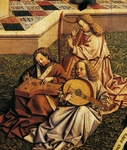 Angel musicians, detail from Source of grace, from School of Jan Van Eyck, 15th Century