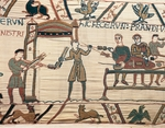 Skewer making, detail of Queen Mathilda's Tapestry or Bayeux Tapestry depicting Norman conquest of England in 1066, France, 11th century.