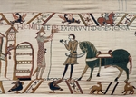William the Conqueror in armour about to mount his horse before the Battle of Hastings, detail of Queen Mathilda's Tapestry or Bayeux Tapestry depicting Norman conquest of England in 1066, France, 11th century.