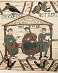 William, Duke of Normandy, between half-brothers Odo, bishop of Bayeux and Robert of Mortain, detail of Queen Mathilda's Tapestry or Bayeux Tapestry depicting Norman conquest of England in 1066, France, 11th century.