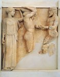 Metope from temple of Zeus with Labours of Heracles, detail of Heracles receiving apples of Hesperides, Circa 460 B.C.