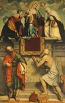Enthroned Madonna with Child, St Catherine, St Paul and St Jerome, 1543, by Moretto da Brescia (1498-1554), Church of San Clemente, Brescia