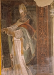 St. Augustine, detail from Fathers and Doctors of Church, 1538-1539, by Michelangelo Anselmi (circa 1492-1556), fresco, Collegiate church of St. Bartholomew, Busseto, Italy