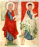 The apostles paying homage to Christ, miniature from the Atlantic Bible, manuscript, 11th Century. Detail.
