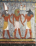 Pharaoh between gods Harsiesis and Anubis