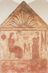 Painted tombstone showing Woman seated on throne in act of spinning, from Andriuolo-Laghetto in Paestum, Campania, Italy