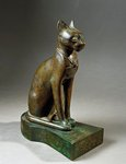 Bronze and gold statuette of goddess Bastet as a cat, also known as the Psamtik cat, Late Period, Dynasty XXVI