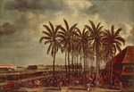 Indonesia, Java Island, Dutch East India Company opening offices in Batavia (Jakarta) in 1619, oil painting