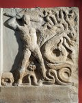 Greece, Lerna, Votive marble relief depicting Heracles and Hydra of Lerna