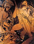 Attic pelike depicting Poseidon, Ares and Hermes fighting against Giants, by School of Pronomos Painter, red-figure pottery