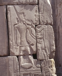 Egypt, Luxor, Karnak, Great Temple of Amon, relief of god Amon offering life-symbol ankh to dead pharaoh