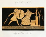 Scene from ancient Greek vase with Menelaus in Helen's pursuit before altar of Apollo, Scene from Trojan War by Piringer (after Greek original), engraving