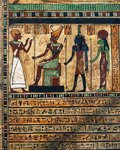 Painted wood stele of Usirur, priest of Amon at Thebes, detail, the deceased before Amon, Ptah and Sekhmet