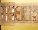 Mythological papyrus of Imenemsauf, Chief bearer of Amon. Detail: the deceased paying homage to the sun; four deities, squires of Amon