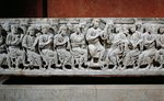 Marble sarcophagus, relief depicting Jesus Christ teaching Apostles, from Rignieux-le-Franc