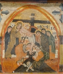 Deposition of Christ, by an unknown artist from the Byzantine-influenced Coptic school, Wooden icon, Church of St Barbara, Cairo, Egypt, 14th Century.