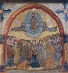 The Ascension, by an unknown artist from the Byzantine-influenced Coptic school, Wooden icon, Church of St Barbara, Cairo, Egypt, 14th Century.