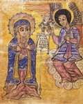 The Annunciation, Coptic miniature, 17th Century.