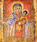 Madonna and child enthroned, miniature, Coptic art, 18th Century.