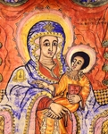 Madonna and child enthroned, miniature, Coptic art, 18th Century. Detail.