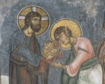 Cyprus, Troodos Region, Byzantine Church of Our Lady of Asinou, detail of apse fresco depicting Communion of the Apostles