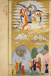 The Ascension, The Prophet Muhhamed Being Carried to Heaven by the Archangel Gabriel, miniature from The Tales of Luqman, 1583, Arabic manuscript