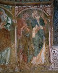 Italy, Trentino-Alto Adige, Bolzano province, Termeno, Castellaz, church of San Giacomo (Saint James), apse, two Apostles, fresco, 1220-30, detail