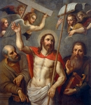 Risen Christ between Saints Peter and Paul, 16th century, artist from Lombard school, oil on canvas, 138x120 cm