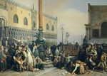 Lottery draw in Saint Mark's Square, by Eugenio Bosa, 1847, oil on canvas