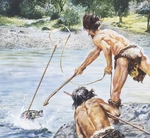 Prehistory: drawing depicting men and habitat of the Neolithic