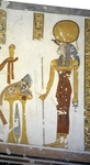 Egypt, Thebes, Luxor, Valley of the Kings, Tomb of Prince Mentuherkhepeshef, mural painting of Cat-head goddess Bastet, 20th dynasty