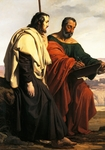 The Apostles Philip and James on their way to their preaching, that is, two exiled patriots, dressed in tricolor, 1825-1827, by Francesco Hayez (1791-1882)