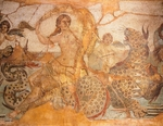 Mosaic depicting Nereid sitting on sea monster surrounded by cherubs and signed by Greek artist called Aspasios, from Baths of Lambaesis, Algeria, Roman Civilization