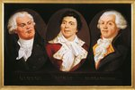 France, Paris, Versailles, Portraits of Georges-Jacques Danton (1759 - 1794), Jean-Paul Marat (1743 - 1793) and Maximilien de Robespierre (1758 - 1794)